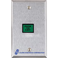 TS-7 ALARM CONTROLS 5/8X7/8 Illuminated Push to Exit Green Button Single Gang Stainless Steel Plate DPDT 3A Contacts