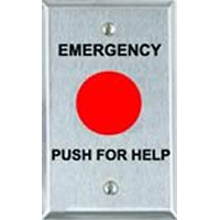 """PBM-1 ALARM CONTROLS EMERGENCY PUSH FOR HELP BUTTON - 1 1/2"""" RED BUTTON MOMENTARY FORM C CONTACTS"""