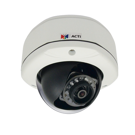 D72A ACTi 3MP Outdoor Dome with D/N, IR, Fixed lens, f2.93mm/F2.0, H.264, 1080p/30fps, DNR, Audio, MicroSDHC/MicroSDXC, PoE, IP66, IK10, DI/DO