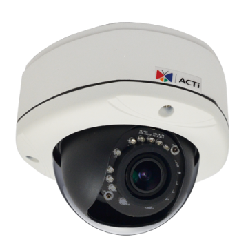 D82A ACTI 3MP Outdoor Dome with D/N, Adaptive IR, Vari-focal lens, f2.8-12mm/F1.4, H.264, 1080p/30fps, DNR, Audio, MicroSDHC/MicroSDXC, PoE, IP66, IK10, DI/DO