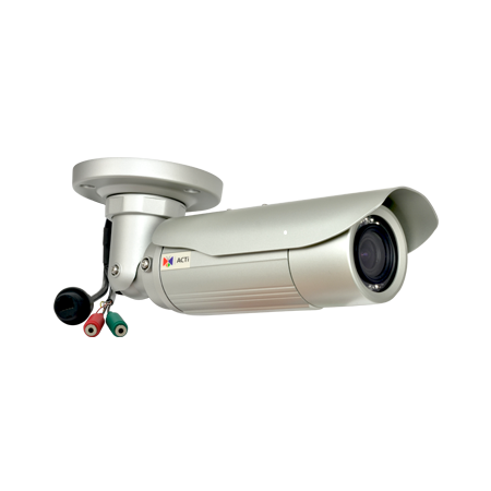 E46A ACTi 3MP Bullet with D/N, IR, Superior WDR, Vari-focal lens, f2.8-12mm/F1.4, H.264, 1080p/30fps, DNR, Audio, MicroSDHC/MicroSDXC, PoE, IP66, IK10 (metal casing) , DI/DO