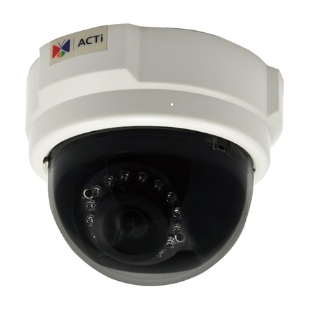 D55 ACTi 3MP Indoor Dome with D/N, IR, Fixed lens, f3.6mm/F1.8, H.264, 1080p/30fps, DNR, PoE