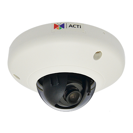 E92 ACTI 3MP Indoor Mini Dome with Basic WDR, Fixed lens, f2.93mm/F2.0, H.264, 1080p/30fps, DNR, MicroSDHC/MicroSDXC, PoE, IK08