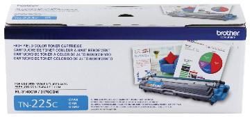 BRT-TN225C BROTHER HI YIELD CYAN TONER CARTRIDGE FOR HL3140CW, HL3170CDW,MFC9130CW, MFC9330CDW 2200 PAGE YIELD