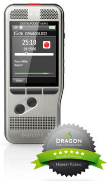 PSP-DPM6000 PHILIPS DPM6000 RECORDER W/PUSH BUTTON RECORDING CONTROL, WIN COMPATIBLE, DPM CONNECT FOR MAC DOWNLOAD & TRANSFER ONLY