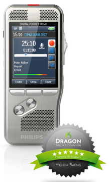 PSP-DPM8500 PHILIPS SLIDE-SWITCH RECORD/STOP/PLAY/FAST/REWIND, DSS/DSS-PRO/MP3/PCM FORMATS,2 MICS ONE OMNI & ONE UNIDIRECTIONAL,INTEG RATED BARCODE SCANNER, DOES NOT INC LUDE SOFTWARE