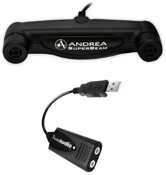 AND-C1-1021450-100 ANDREA SUPERBEAM ARRAY MIC WITH USB-SA STEREO USB AUDIO ADAPTER BUNDLE WITH NO HEADSET