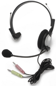 AND-C1-1022100-1 ANDREA NC-181 ON-EAR MONAURAL COMPUTER HEADSET WITH NOISE-CANCELLING MICROPHONE AND DUAL COLOR CODED 3.5MM PLUGS