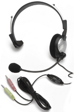 AND-C1-1022200-1 ANDREA NC-181VM ON-EAR MONAURAL COMPUTER HEADSET WITH NOISE-CANCELLING MICROPHONE, IN-LINE VOLUME/MUTE CONTROLS, AND DUAL COLOR CODED 3.5MM PLUGS