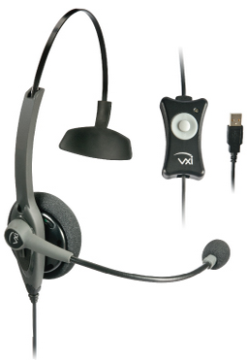 VXI-203008 VXI TALKPRO USB1 MONAURAL HEADSET INCLUDES INLINE MUTE AND VOLUME CONTROL