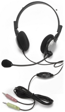 AND-C1-1022500-1 NC-185VM ON-EAR STEREO COMPUTER HEADSET WITH NOISE-CANCELLING MICROPHONE, IN-LINE VOLUME/MUTE CONTROLS, AND DUAL COLOR CODED 3.5MM PLUGS