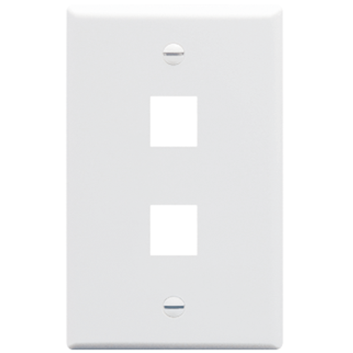 IC107F02WH ICC FACEPLATE, FLAT, 1-GANG, 2-PORT, WHITE