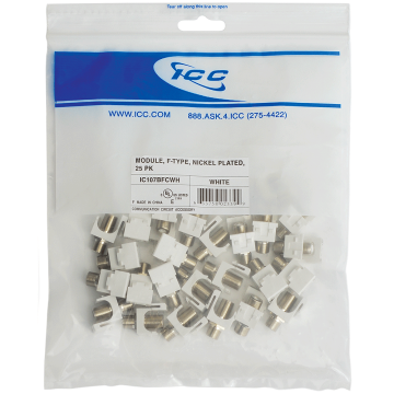 IC107BFCWH ICC F-TYPE GOLD CONNECTORS 2GH 25-PK