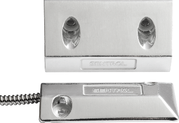 "2202AU-L UTC OVERHEAD DOOR FLOOR MOUNT CONTACT W/UNIVERSAL MAGNET, CLOSED LOOP, 3"" GAP SIZE. 18"" STAINLESS STEEL ARMORED CABLE"