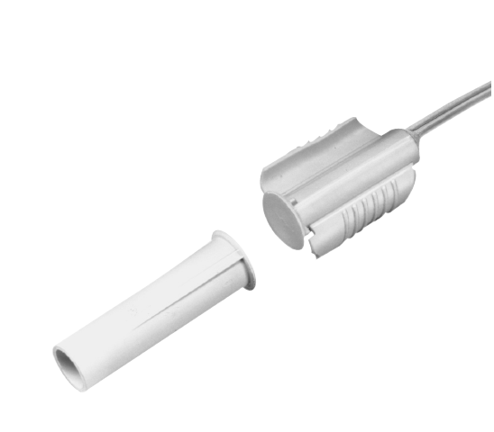 "1275W-N UTC RECESSED WING FIT CONTACT W/WIRE LEADS, 3/8"" DIAMETER, CLOSED LOOP, WIDE GAP, WHITE, 1 1/4"" GAP SIZE"
