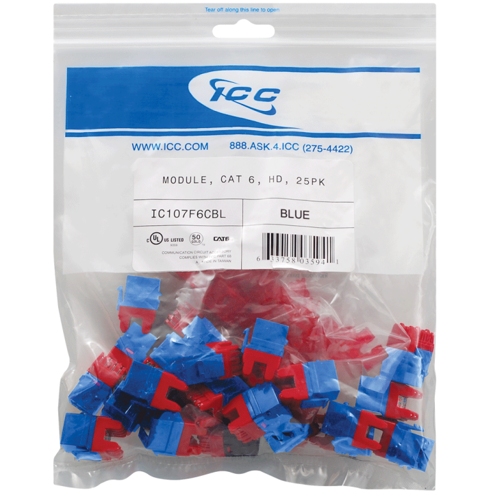 IC107F6CBL ICC MODULE, CAT6, HD 25PK, BLUE ************************* SPECIAL ORDER ITEM NO RETURNS OR SUBJECT TO RESTOCK FEE *************************