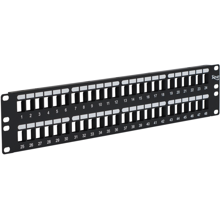 IC107BP482 ICC PATCH PANEL, BLANK, HD, 48-PORT, 2 RMS - ONLY ACCEPTS HIGH DENSITY CONNECTORS