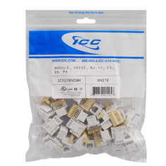 IC1076VCWH ICC JACK VOICE USOC RJ-11 25-PACK WHITE