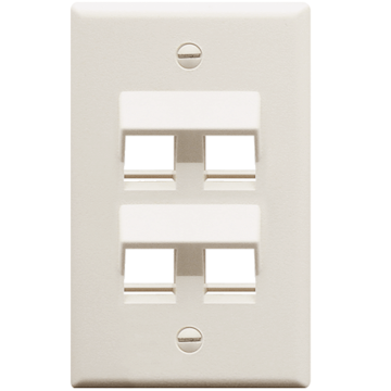 IC107DA4WH ICC FACEPLATE ANGLED 1-GANG 4-PORT - WHITE ************************* SPECIAL ORDER ITEM NO RETURNS OR SUBJECT TO RESTOCK FEE *************************