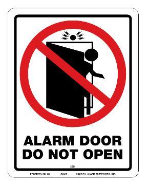 """SN-102 MAXWELL """"ALARM DOOR DO NOT OPEN"""" RED AND BLACK"""