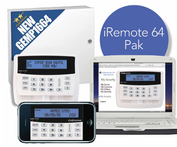 iREMOTE64PAK NAPCO GEMP1664 PANEL, GEMK1VPS KEYPAD, VIRTUAL KEYPAD AND iREMOTE, TRANSFORMER, AND ENCLOSURE. ************************* SPECIAL ORDER ITEM NO RETURNS OR SUBJECT TO RESTOCK FEE *************************