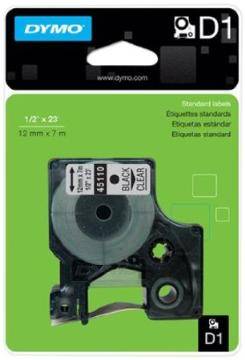 """DYM-45110 DYMO Black Print/ Clear Label Blister Pack, 1/2"""" X 23' ************************** CLEARANCE ITEM- NO RETURNS *****ALL SALES FINAL******* **************************"""