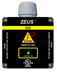 DTK-D50-240HW DITEK 240 VAC, 50kA, SPD Type 1 UL1449 3rd Edition Listed ************************* SPECIAL ORDER ITEM NO RETURNS OR SUBJECT TO RESTOCK FEE *************************