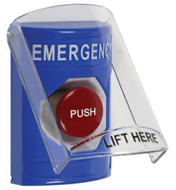 """STI-SS-2421E STI BLUE MUSHROOM TYPE STOPPER STATION, LABELED """"EMERGENCY"""" WITH STOPPER STATION SHIELD ************************* SPECIAL ORDER ITEM NO RETURNS OR SUBJECT TO RESTOCK FEE *************************"""