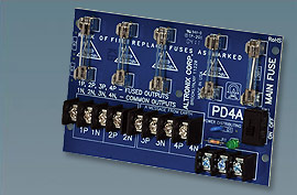PD4 ALTRONIX 4 Output Power Distribution Module - Converts AC or DC power input (28 volts @ 14 amp max.) into four (4) fused power outputs.