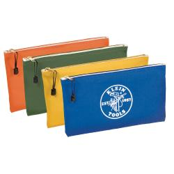 """5140 KLEIN TOOLS 4-Pack Zipper Bags, Canvas, Assorted Colors, 12-1/2"""" X 7"""""""