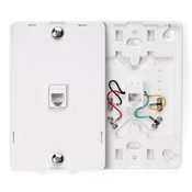LEV40214-W LEVITON WALL MOUNT PHONE PLATE 4 CONDUCTOR WHITE