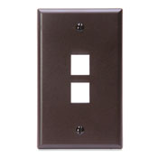 LEV41080-2BP LEVITON QUICKPORT SINGLE-GANG WALLPLATE 2-PORT BROWN