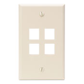 LEV41080-4TP LEVITON 4-PORT WALL PLATE - LT ALMOND ************************* SPECIAL ORDER ITEM NO RETURNS OR SUBJECT TO RESTOCK FEE *************************