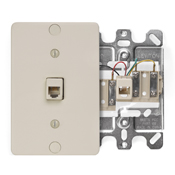 LEV40257-I LEVITON TELEPHONE WALL PHONE JACK SCREW TERMINAL 6P IVORY ************************* SPECIAL ORDER ITEM NO RETURNS OR SUBJECT TO RESTOCK FEE *************************