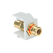 LEV40830-BWR LEVITON RCA JACK W/ RED STRIPE WHITE ************************* SPECIAL ORDER ITEM NO RETURNS OR SUBJECT TO RESTOCK FEE *************************