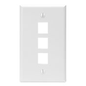 LEV41080-3WP LEVITON 3-PORT FIELD CONFIGURABLE SINGLE GANG WALLPLATE WHITE