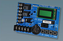 PT2724 ALTRONIX 2 CHANNEL 365 DAY/24 HR. ANNUAL EVENT TIMER - 12 TO 24 VOLT AC OR DC OPERATION, TWO SPDT CONTACTS RATED @ 10 AMP/115VAC/28VDC, 100 DAILY/WEEKLY EVENTS, 700 WEEKLY BLOCK EVENTS, 20 HOLIDAY EXCEPTIONS, LCD DISPLAY, BUILT-IN BATTERY CHARGER. ************************* SPECIAL ORDER ITEM NO RETURNS OR SUBJECT TO RESTOCK FEE *************************