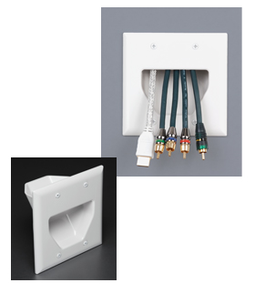 45-0002-IV DATACOMM 2-GANG RECESSED LOW VOLTAGE CABLE PLATE, IVORY ************************* SPECIAL ORDER ITEM NO RETURNS OR SUBJECT TO RESTOCK FEE *************************