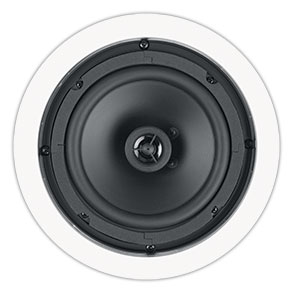 A-600 RBH Contractor 6 1/2 inch round in-ceiling / in-wall speaker. Poly cone with rubber surround & co-axial center tweeter. Finished dim 9in diameter. Flat Steel Grille.
