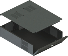 "VMPDVR-LB3 VMP VMP RACK MOUNTABLE LOW PROFILE DVR / STORAGE LOCKBOX. INTERIOR DIMENSIONS 17.2"" W x 21"" D x 5"" H. SINGLE FAN INCLUDED WITH A MOUNTING LOCATION FOR A SECOND FAN.3 RU OVERALL HEIGHT."