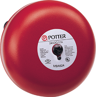 "MBA-624 POTTER 24VDC 6"" GONG 4 WIRE POLARIZED MOTOR DRIVEN FIRE BELL 1750100 ************************* SPECIAL ORDER ITEM NO RETURNS OR SUBJECT TO RESTOCK FEE *************************"
