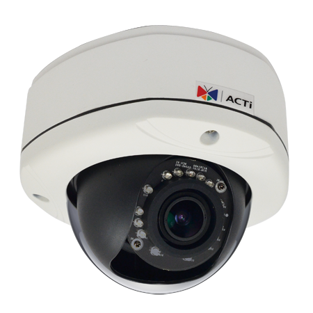 E84A ACTi 3MP Outdoor Dome with D/N, Adaptive IR, Basic WDR, Vari-focal lens, f2.8-12mm/F1.4, H.264, 1080p/30fps, DNR, Audio, MicroSDHC/MicroSDXC, PoE, IP67, IK10, DI/DO