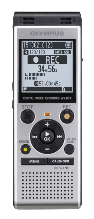 OLY-V415121SU000 OLYMPUS WS852 SILV ER DIGITAL VOICE RECORDER,4GB, 1040 HOURS RECORDING,STEREO, MP3 MICRO SD SLOT, DIRECT USB CONNECTOR,2 AAA BATTERIES INCLUDED