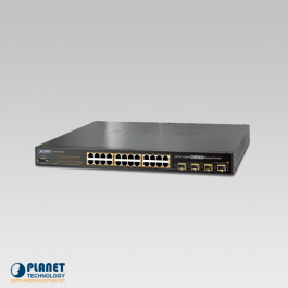 WGSW-24040HP4 PLANET IPV6 MANAGED 24 PORT 802.3AT POE+ GIGABIT ETHERNET SWITCH + 4 PORT SHARED SFP - 440 WATTS