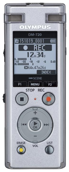 "OLY-V414111SU000 OLYMPUS DM-720-SLV DIGITAL VOICE RECORDER, 2 OMNI DIRE CTIONAL & 1 DIRECTIONAL MIC ""TRES MIC TECHNOLOGY"",PCM RECORDING FORMAT"