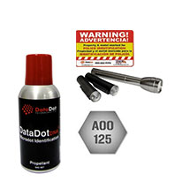 """DD1504 DATADOT 1 (100g) can of dots, 50 Stickers, 4 (18x24"""") warning signs, 1 blacklight and 2 readers"""