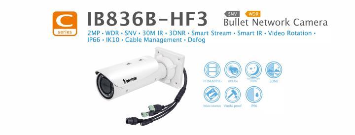 IB836B-HF3 VIVOTEK OUTDOOR 2MP BULLET, FIXED LENS 3.6MM, WDR, 30M IR LEDS, 12VDC PoE