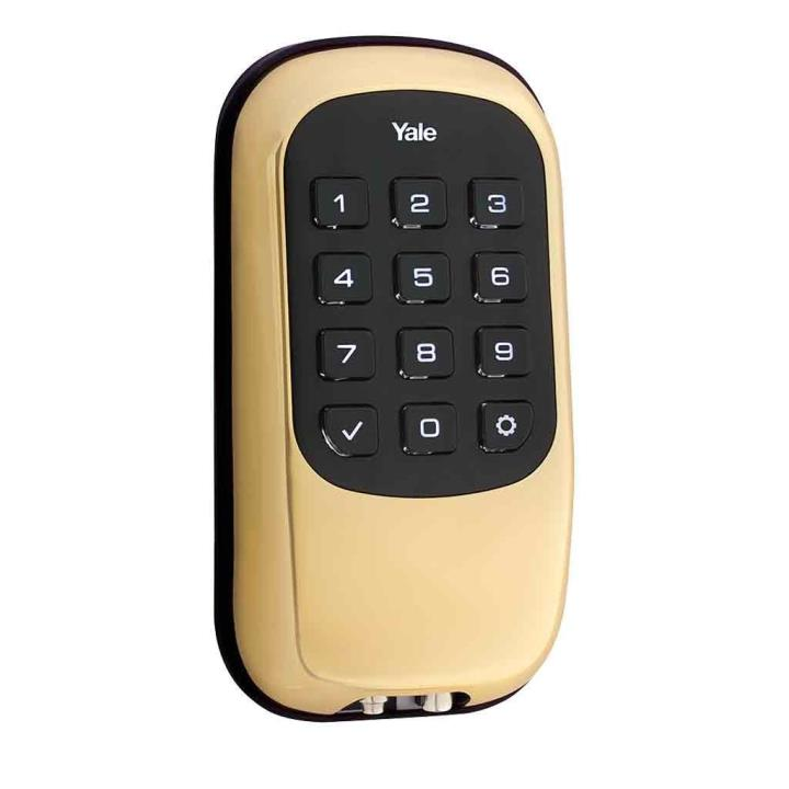 YRD110ZW605 Yale 84386 Push Button Z-Wave-Key Free Deadbolt Bright Brass-PVD