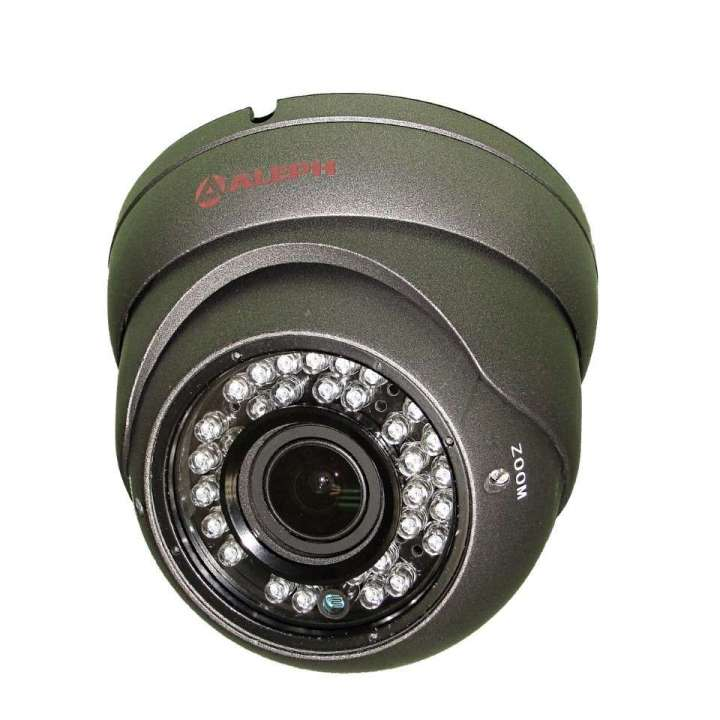 DV10212G ALEPH GRAY 4 IN 1 (ANALOG,TVI,AHD,CVI) 2.8-12MM VARIFOCAL EYEBALL CAMERA W/36PC IR, 1080P, 2MP, IP66, 12VDC