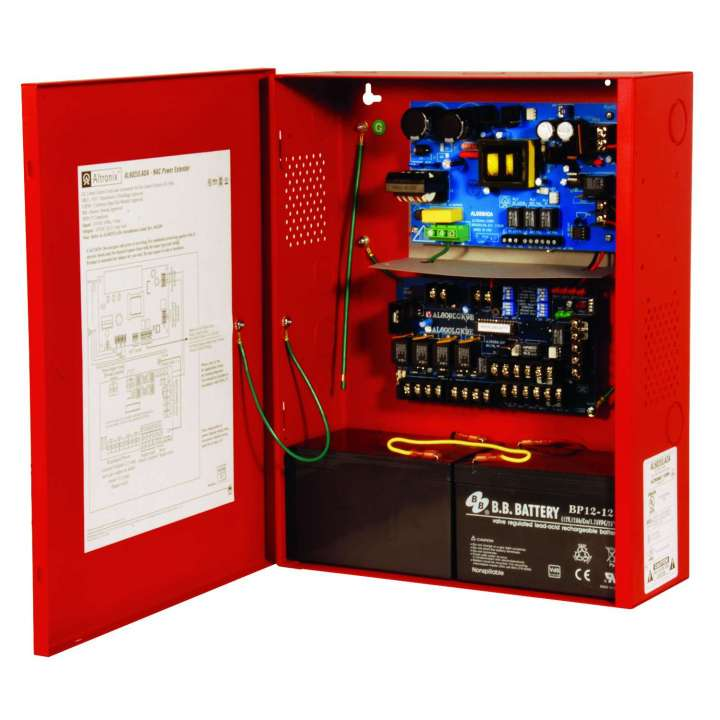 AL602ULADA ALTRONIX ADA FIRE ALARM POWER SUPPLY IN RED ENCLOSURE 2 INPUTS, 4 OUTPUTS 24VDC @ 6.5 AMP SELECTABLE STROBE SYNCH (FOR TWO WIRE HORN/STROBE)